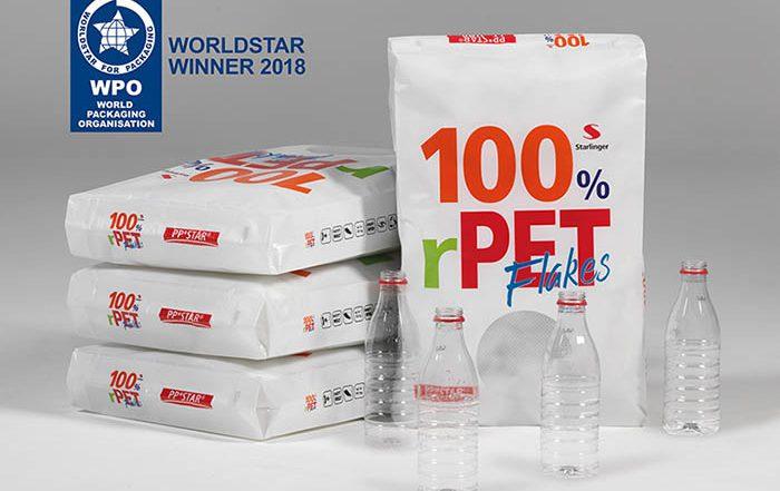 Starlinger, rPET PP*STAR, sacos de PET reciclado, maquinaria starlinger, envasado de alimento, saco, escamas de botellas de PET, producción circular, reciclable, premio WorldStar Packaging
