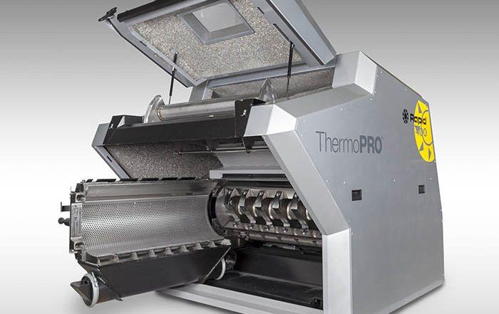 Rapid Granulator, ThermoPRO, molino, granulador, restos de termoconformado, termoformado, residuos, láminas de plástico, reciclado de plástico, corazon abierto