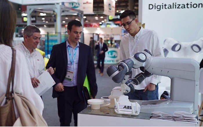 plataforma abb ability, robots abb, packaging, Hispack 2018, robot irb 460, yumi, robot colaborativo