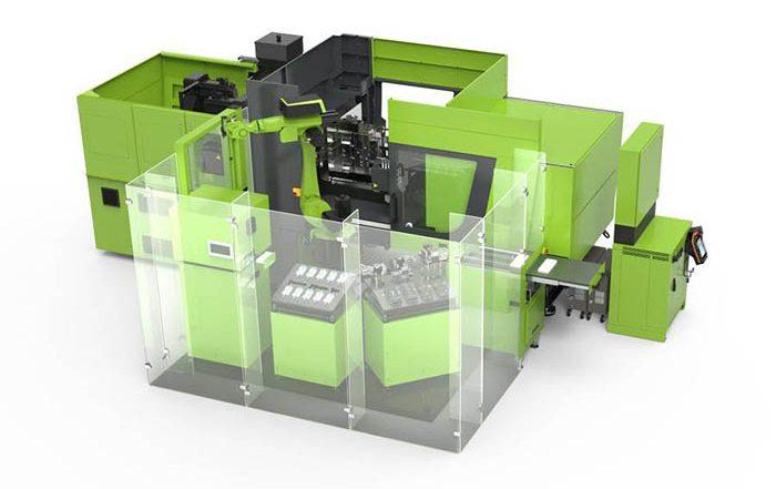 Engel, producción de series cortas, lotes pequeños, inyección de plásticos, piezas bicomponentes, cambios de insertos de molde, rápido, Engel, Fakima 2018, robot, sin columnas, inyectora, inject 4.0, industria 4.0