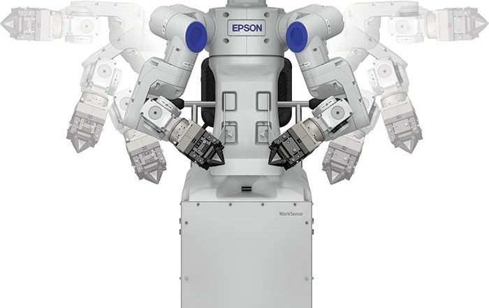 worksense, robot de doble brazo, epson, feria automatica 2018, robots scara, robots industriales, lanzamientos, mercado de robótica, robótica industrial, automatica 2018