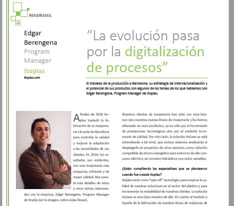 entrevista itoplas, revista mundoplast 54, edgar berengena, itosave, itocontrol, industria del plástico, industria 4.0, digitalizacion