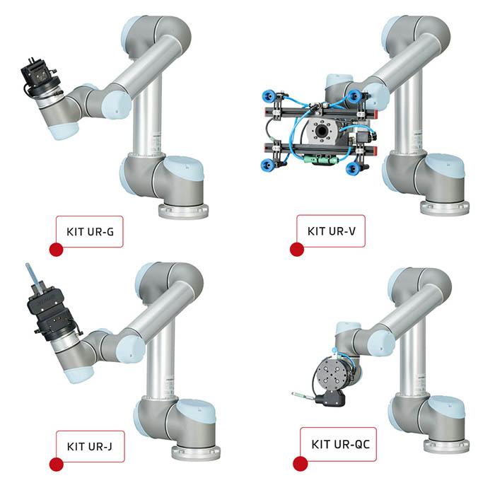 gimatic, universal robots, pinzas, cobots, robots colabotativos, kits para final de brazo de robot, kit ur-j, kit ur-g, kit ur-V, kit ur-qc, cobot