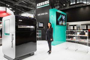 Arburg, freeformer 300-3x, formnext 2018, presentación mundial, fabricación aditiva, lanzamiento mundial, diversidad de materiales plásticos, modelo de renting, freeformer, impresión 3D, éxito, Juliane Hehl